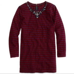 J. Crew necklace jeweled neckline striped tee XS